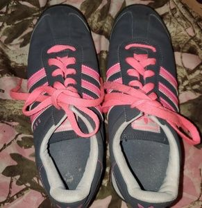 Blue and pink Adidas
